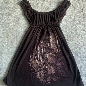 Women's Short Sleeved Black Summer Dress